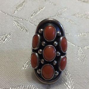 Vintage Vintage NAKAI Sterling+Coral Ring